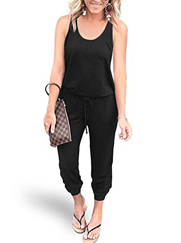 REORIA Women Summer Casual Sleeveless Tank Top Elastic Waist Loose Activewear Jumpsuit Rompers with Pockets Black Small