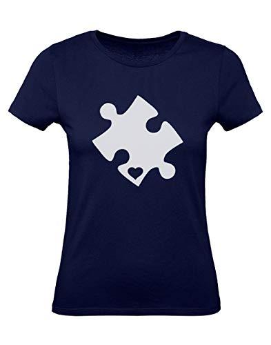 Green Turtle T Shirts Camiseta para Mujer   Autism Awareness Heart Cut Puzzle   Concienciación sobre el Autismo X Large Azul Oscuro