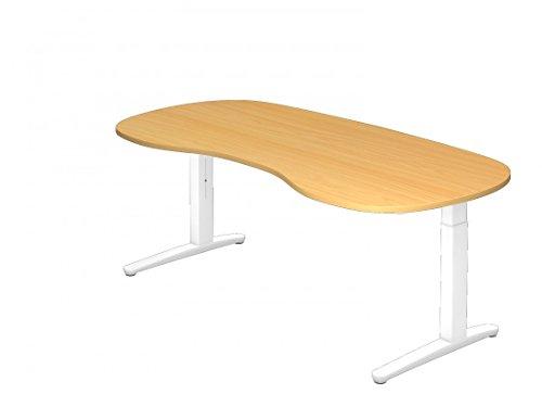 Schreibtisch DR-Büro XB - Maße 200 x 100 cm - Metallgestell weiß - Bürotisch höheneinstellbar - nierenförmig, Farbe Büromöbel:Buche