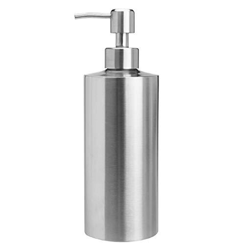 SISVIV Dispensador de Jabón Líquido Acero Inoxidable 550ML Dosificador Jabon Cocina Baño Desinfectante Manos Champú Detergente Lavavajillas Plata