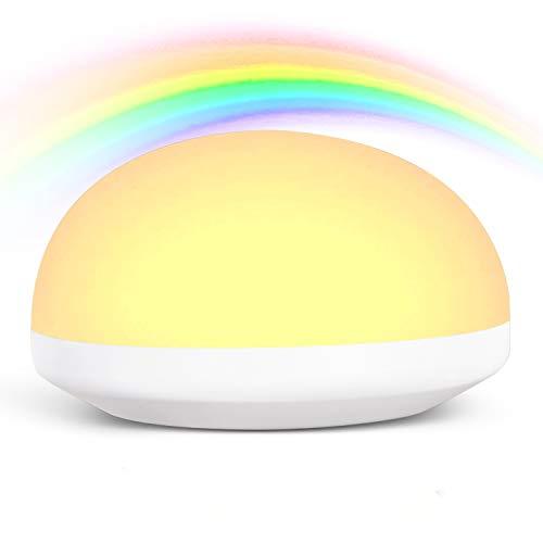 OOWOLF LED Nachtlicht Kind,Nachtlampe Schlafzimmer mit 7 Farben RGB-Farbwechsel, Nachtlampe touch mit USB, Nachtllampe Kinderzimmer,Nachtleuchte Baby warmweiß,stufenlos dimmbar[Energieklasse A++]