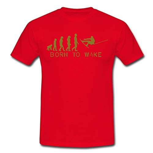 Born to Wake, Evolution, I Love My Wakeboard, Wakeboarder, Wakeboarding, Kiteboard, Skateboard, Snow Männer T-Shirt, L, Rot
