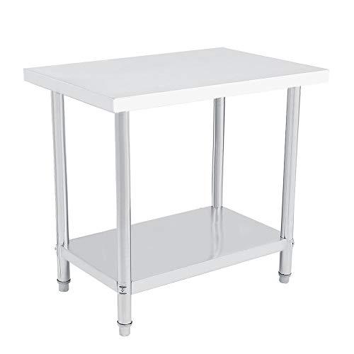 Mesa de trabajo de 2 capas, superficie de trabajo para cocina, mesa de trabajo de acero inoxidable, altura regulable, mesa de trabajo, plateada (91 x 61 cm)