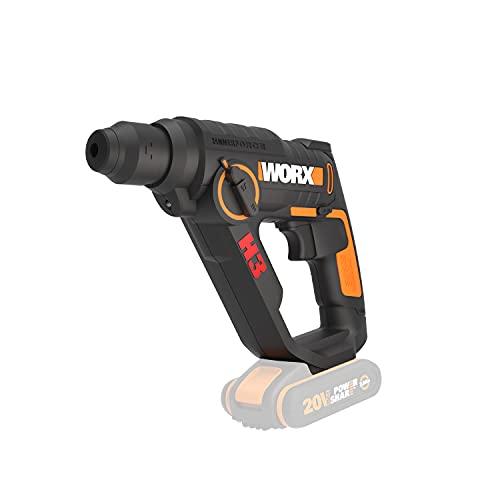 Worx WX390.9Martello Pneumatico SDS PLUS, Trapano, Avvitatore a Batteria 20V, 1.2Joule di Potenza, Velocità d'Impatto 5.000bpm, 900giri/min, Luce Led da Lavoro, 1Pezzo - Solo Corpo Macchina