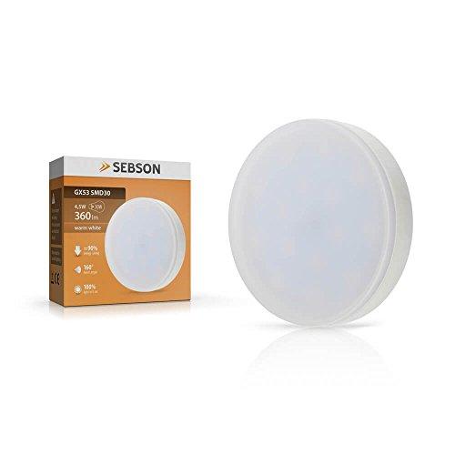SEBSON® GX53 LED Lampe 4,5W 360lm (Ersetzt 30W) [Warm-Weiß - SMD LED Leuchtmittel - 110° Abstrahlwinkel]
