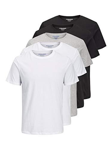 JACK & JONES Herren T-Shirt 5-Pack LWhite 1