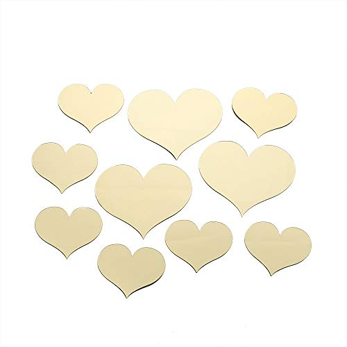 Fasclot Acrylic Sticker 10pcs Love Heart Acrylic 3D Mirror Wall Sticker Mural Decal Removable Stickers Home & Garden Home Decor