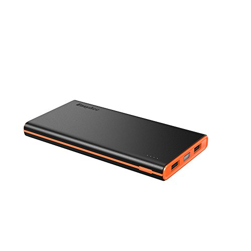 EasyAcc 10000mAh Power Bank Brilliant External Battery Pack (3.1A Smart Output) Classic Portable Charger for iPhone Samsung Smartphones Tablets - Black and Orange
