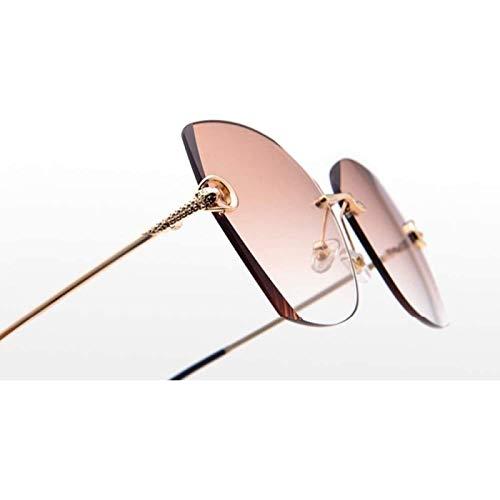 ZHANG Gafas de Sol Sin Marco de Película Gafas de Sol de Corte de Cristal de Pieza de Océano de Color de Moda