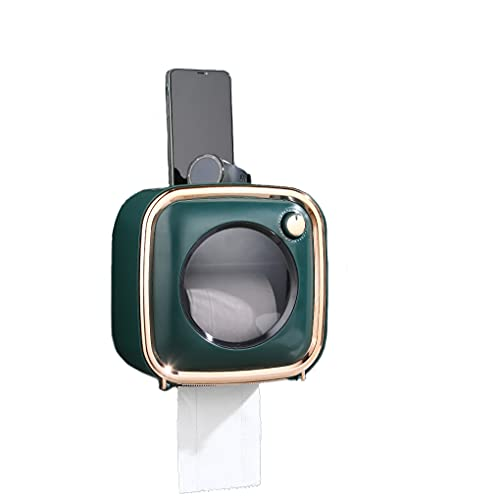 Portarrollos de papel higiénico, adecuado para 2 tipos de papel higiénico, Maxspace, sin taladrar, con estante, cubierta impermeable y resistente al polvo, caja de almacenamiento (verde)