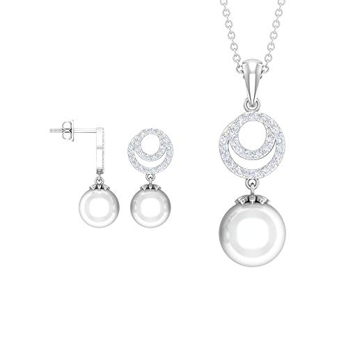 14.50 CT Pearl Pendant and Earring Set, Gold Engraved Swirl Diamond Necklace, Women Party Wear Drop Earrings, Comfortable Wedding Bridal Earring Gifts, 18K White Gold Without Chain