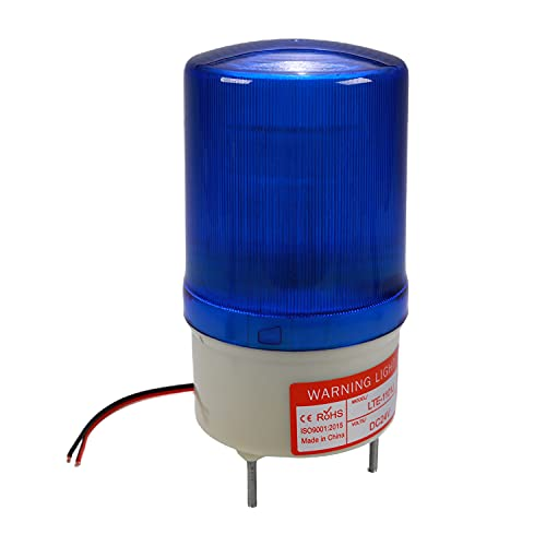 Othmro Warning Light Bulb Industrial Signal Tower Lamp Plastic Electronic Parts Flashing with Sound 24V Blue LTE1101J 1pcs