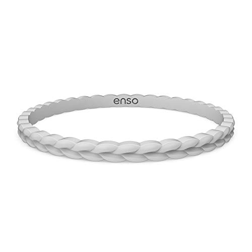 Enso Silicone Bracelet – Weave Stackable Bracelet - Hypoallergenic Rubber Wristband – Comfortable Flexible Band for Active Lifestyle - Medical Grade Silicone (Misty Grey, L)