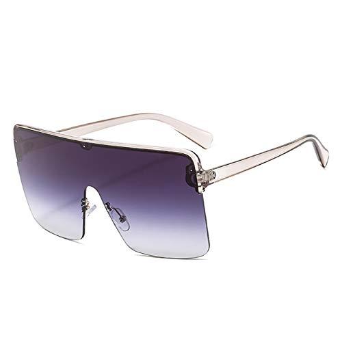 Astemdhj Gafas de Sol Sunglasses Gafas De Sol Cuadradas De Gran Tamaño De Una Pieza para Mujer, Gafas De Sol De Marca De Lujo para Mujer, Grandes Sombras A Granel C6PurplegreygreyAnti-UV