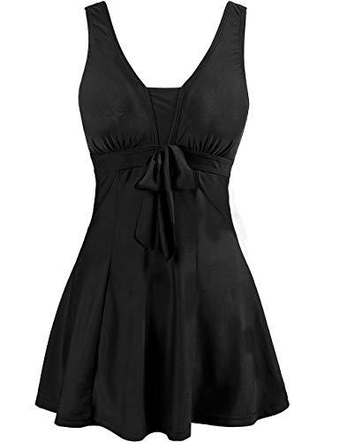 Wantdo Women's Cover Up Swimsuit One Piece Bikini Vintage Swimwear Black US 18W-20W