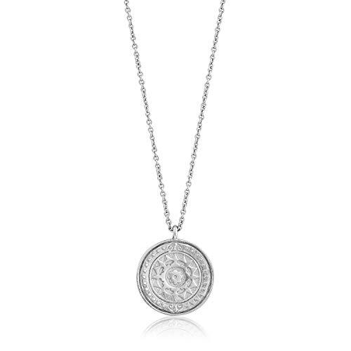 Collar de plata de ley 925 con colgante de moneda romana martillada para mujer, rodio blanco plateado