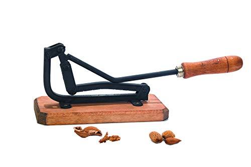 ENEIDE Partidor Manual de Frutos Secos - Cascanueces - Rompe Almendras. Fabricado en Hierro Fundido con Mango de Madera y Tacoma a Juego.