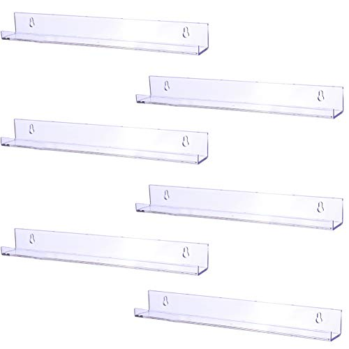 Sooyee 6 Pack 15 Inch Acrylic Invisible Kids Floating Bookshelf for Kids Room,Modern Picture Ledge Display Toy Storage Wall Shelf,Clear