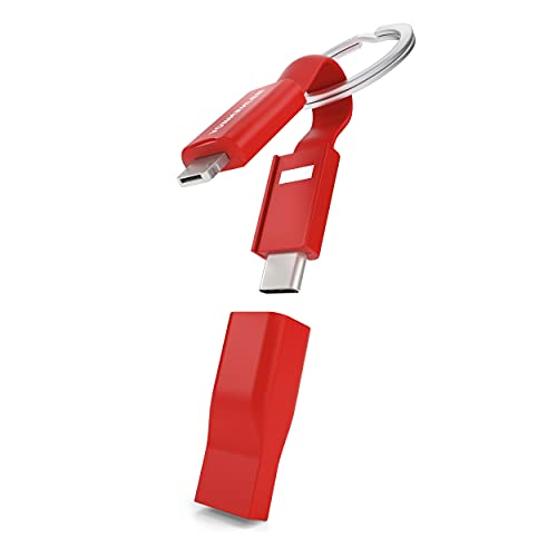 Vonmählen High Five - Porte-clés Multi Câble de Recharge 5 en 1 - Câble de Chargement innovant USB-C, Micro-USB - Compatible avec iPhone et Tous Les Autres Smartphones - Rouge