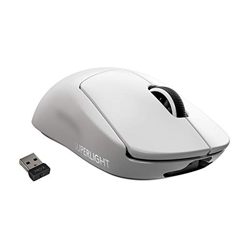 Logitech G PRO X Superlight Wireless Gaming Mouse, Ultra-Lightweight, Hero 25K Sensor, 25,600 DPI, 5 Programmable Buttons, Long Battery Life, Compatible with PC/Mac - White (Renewed)