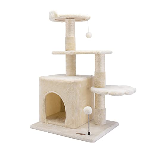 Cat Tree Cat Tower Cat Condo, HAMATE 33.5' Cat House with Sisal Scratching Post for Kitten Activity Platform Playground Furniture with Plush Hanging...