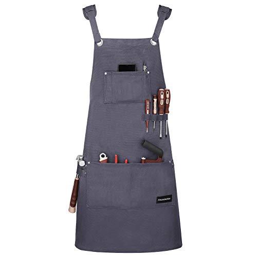 Housolution Grembiule per Lavoro, Multiuso Grembiule da Lavoro, Impermeabile & Resistente all''olio, con Tasche Portautensili per Attrezzi - Grigio