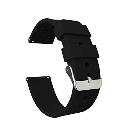 22mm Black - BARTON Watch Bands - Soft Silicone Quick Release Straps