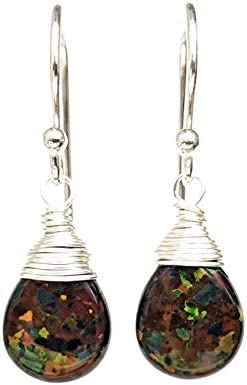 Simulated Black Opal Earrings Sterling Silver product image