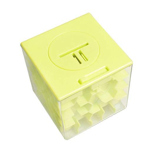 bulingbuling Cubo Mágico Rompecabezas 3D Laberinto Creativo Hucha Dinero De Colección Caja De Almacenamiento De Educación Inicial Regalos De Juguetes Y Juguetes De Aprendizaje para Niños Amarillo