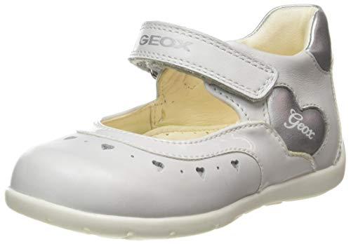 Geox B Kaytan D, Zapatos de Primeros Pasos Bebé-Niñas, Blanco (White/Silver C0007), 21 EU