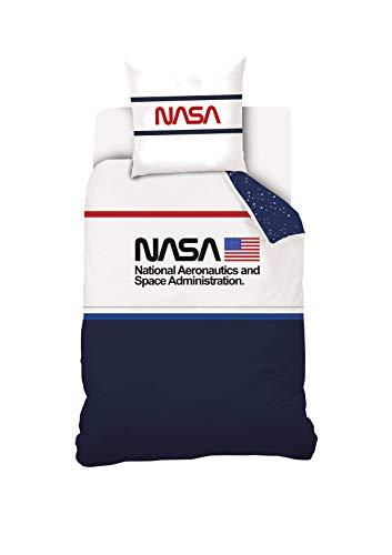 NASA Parure de lit 140x200 cm 100% Coton, Bleu/Blanc, 140 x 200 cm