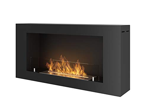 Chimenea de bioetanol de pared con cristal protector incluido, marco negro semimate de acero inoxidable, 91 x 44 cm