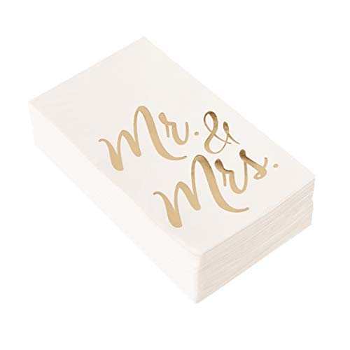 Wedding Dinner Napkins - 50-Pack Mr and Mrs Gold Foil Paper Napkins, 1/6 Fold 3-Ply, Wedding, Anniversary Disposable Party Supplies, White, Folded 4 x 8 Inches