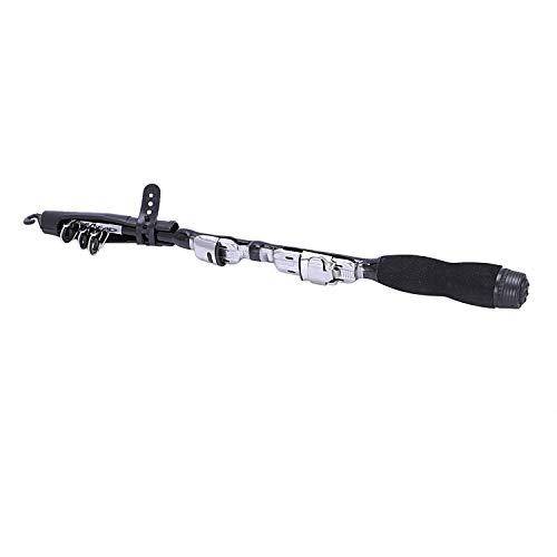 LMEIQUN, Mini Portátil Telescópica caña de Pescar Spinning Pescado de Carbono Mano Aparejos de Pesca Mar Rod Mar Caña de Pescar caña de Pescar sin Carrete (Color : Black, Size : 1.2m)