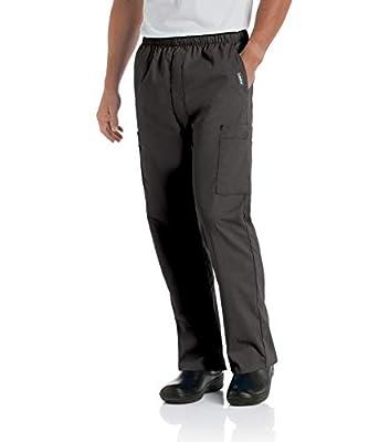 Landau Men's Comfort 7-Pocket Elastic Waist Drawstring Cargo Scrub Pant, Black, Large