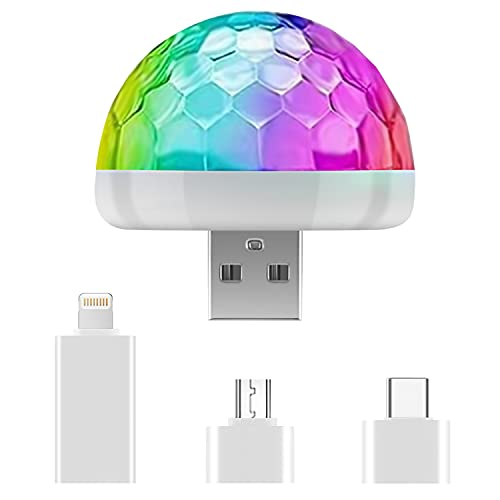 Boule Disco USB Son Activé, Boule à Facette Lumières de Fête Colorées Jeux de Lumiere Lampe Pour les Enfants Anniversaire, Rassemblement de la Famille, Fête de Noël
