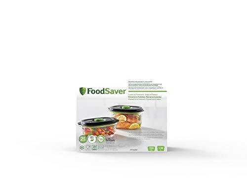 Recipiente para conservar y marinar al vacío FoodSaver | Hermético. Libre de BPA| A prueba de fugas | Apto lavavajillas | Pack: 700 ml y 1,2L