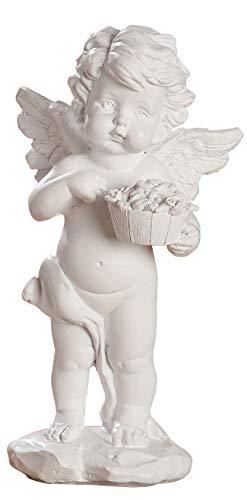 dekojohnson – Ángel protector figura blanca como adorno para tumba, decoración para tumba, ángel escultura resistente a la intemperie – 14,5 cm grande