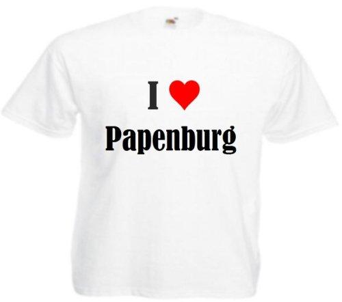 T-Shirt I Love Papenburg Größe XL Farbe Weiss Druck Schwarz