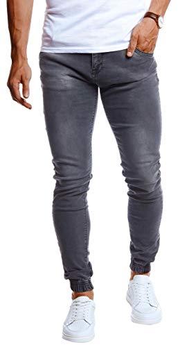 Leif Nelson Herren Jeans Hose Slim Fit Denim Blaue graue Lange Jeanshose für Männer Coole Jungen weiße Stretch Freizeithose Graue Cargo Chino Sommer Winter Basic LN9170 Grau W32/L30