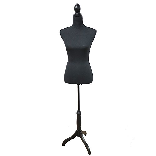 Female Mannequin Torso Body Dress Form with Black Adjustable Tripod Stand for Clothing Dress Jewelry Display (All Black)