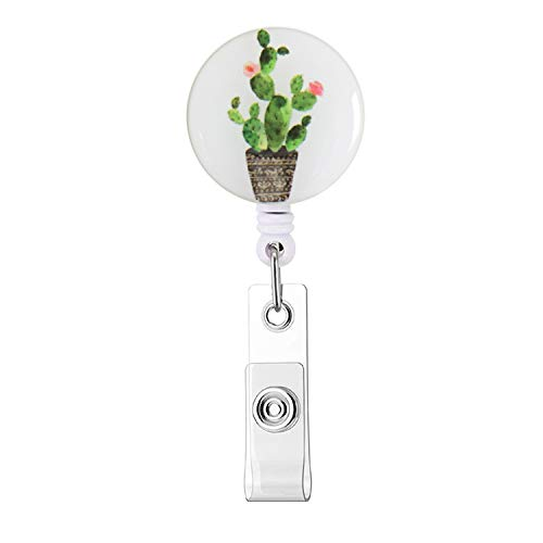 Badge Clip, Retractable ID Card Badge Holder with Alligator Clip, Name Nurse Decorative Badge Reel Clip on Card Holders for Nurses & Teachers & Girls & Women, Long 24 inch Cord - Cute Cactus