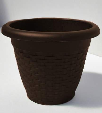 Hobby&Style 14142.0 Pot Rond Rattan, wengé, 30 x 30 x 23 CM