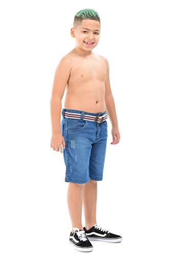 Kit 2 Bermuda Jeans Infantil Menino Masculino Com Regulador Tamanho:14