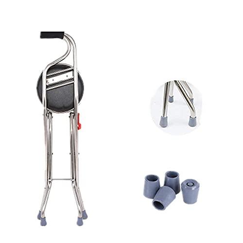 Muleta para taburete de descanso, bastón plegable portátil con asiento 2 en 1 Taburete de bastón de cuatro patas con mango antideslizante y punta de goma Ayuda de movilidad de equilibrio de altura ⭐