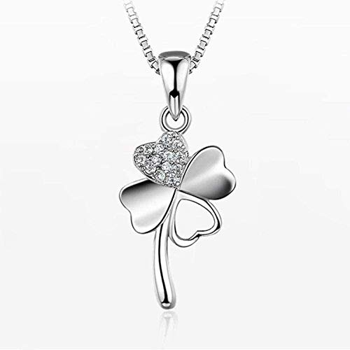 VSWQW Co.,ltd Necklace Silver Pendant Necklace for Women Fashion Jewelry Comes with Gift Box Holiday Or Birthday Present for Women and Girls Micro Set Shamrock