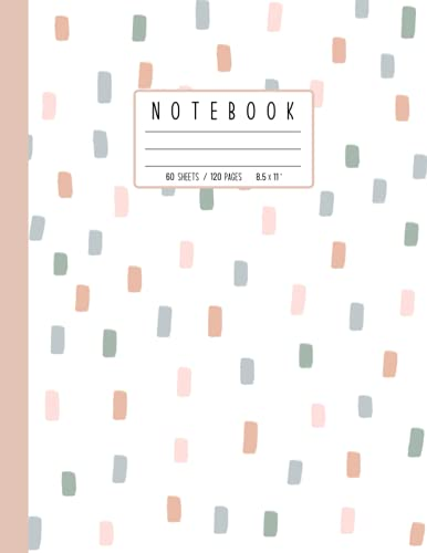 Lined Ruled 120 Pages (8.5 x 11') Composition Notebook for Students, Parents, Children, College, Teachers (Elementary school, Junior High, High ... Cute Blush Pink Sage Green Sprinkles Confetti