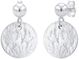 Elli Women's Earrings Platelet Round Vintage Antique 925 Sterling Silver