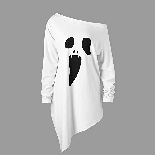 Women Halloween Costume Long Sleeve Sweatshirt Casual Ghost Print Off-Shoulder Pullover Top Blouse Shirt