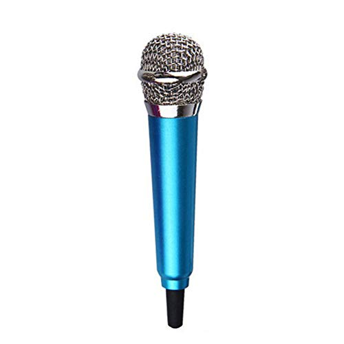 dukesong 3.5mm Wired Mini Microphone Karaoke Stereo Condenser Mic for Mobile Phone Laptop Blue